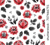 watercolor floral seamless... | Shutterstock . vector #707466751
