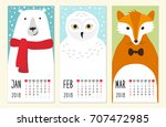 cute 2018 calendar pages with... | Shutterstock .eps vector #707472985