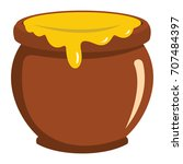 Pot Of Honey Icon In Flat Style ...
