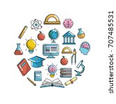 school knowledge utensils to... | Shutterstock .eps vector #707485531