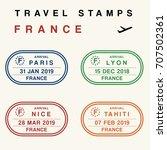 travel vector   passport stamps ... | Shutterstock .eps vector #707502361