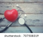 close up red heart and... | Shutterstock . vector #707508319