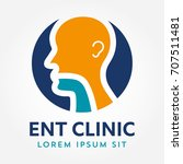 ent logo template. head for ear ... | Shutterstock .eps vector #707511481