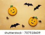 flat lay halloween background... | Shutterstock . vector #707518609