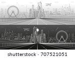 wide highway. urban... | Shutterstock .eps vector #707521051