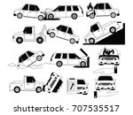 car crash and accidents on the... | Shutterstock .eps vector #707535517