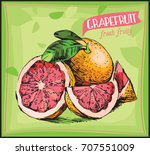 eco food label. hand drawn... | Shutterstock .eps vector #707551009