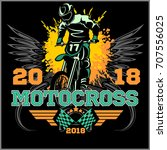 motocross rider badge logo... | Shutterstock .eps vector #707556025