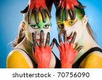 multi color bodypainting with...   Shutterstock . vector #70756090