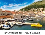 old city dubrovnik in a... | Shutterstock . vector #707562685