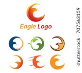crescent eagle and bird logo... | Shutterstock .eps vector #707563159