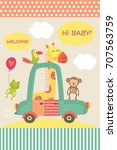 card with baby giraffe in car   ... | Shutterstock .eps vector #707563759