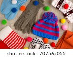 hat  scarves and mittens. a lot ... | Shutterstock . vector #707565055
