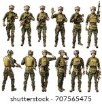 us marine corps soldier with... | Shutterstock . vector #707565475