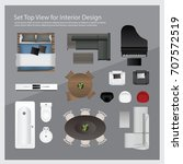 set top view for interior... | Shutterstock .eps vector #707572519