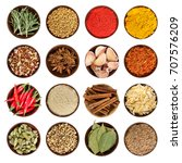 set of various spices in round... | Shutterstock . vector #707576209