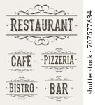 vintage restaurant and pizzeria ... | Shutterstock .eps vector #707577634