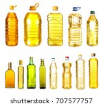 different bottles with cooking...   Shutterstock . vector #707577757