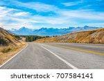 regional road at lake pukaki... | Shutterstock . vector #707584141