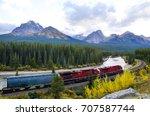 freight train running in... | Shutterstock . vector #707587744