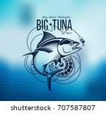 tuna fishing emblem on blur... | Shutterstock .eps vector #707587807