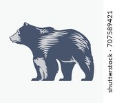 bear with a bear cub in a blue...   Shutterstock .eps vector #707589421