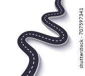 3d winding road on a white... | Shutterstock .eps vector #707597341