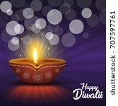 diwali diya  | Shutterstock .eps vector #707597761