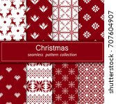 set of seamless fabric. eight... | Shutterstock .eps vector #707604907