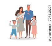 happy parents and kids. mother... | Shutterstock .eps vector #707610274