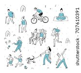 hand drawn with active people.... | Shutterstock .eps vector #707610391