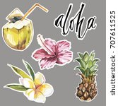 aloha. set of cute tropical... | Shutterstock .eps vector #707611525