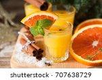 orange spicy vodka with thyme... | Shutterstock . vector #707638729