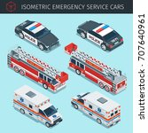 isometric emergency service... | Shutterstock .eps vector #707640961
