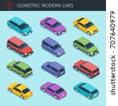 isometric cars collection with... | Shutterstock .eps vector #707640979