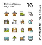colored delivery  shipment ... | Shutterstock .eps vector #707642131