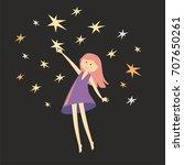 girl catches a stars. pretty... | Shutterstock . vector #707650261