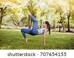 asian woman practicing yoga in... | Shutterstock . vector #707654155