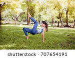 asian woman practicing yoga in... | Shutterstock . vector #707654191