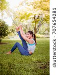asian woman practicing yoga in... | Shutterstock . vector #707654281