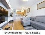 modern interior design with... | Shutterstock . vector #707655061