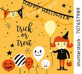halloween holiday greeting card ... | Shutterstock .eps vector #707657989