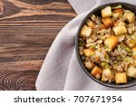 turkey stuffing in bowl for... | Shutterstock . vector #707671954