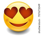 emoji love smiley face vector...   Shutterstock .eps vector #707673349