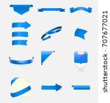 blue ribbons set. vector...   Shutterstock .eps vector #707677021