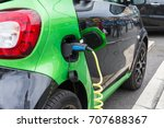 close up of electric car being... | Shutterstock . vector #707688367