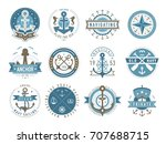 nautical logos templates set.... | Shutterstock .eps vector #707688715