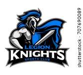 legion knight mascot symbol and ... | Shutterstock .eps vector #707690089