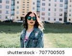 girl in sun glasses | Shutterstock . vector #707700505