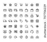 e commerce shop on line icon set | Shutterstock .eps vector #707706229